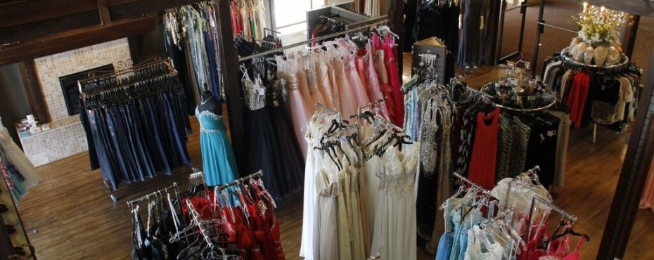 Overhead shot of the store with dresses, jeans, and more